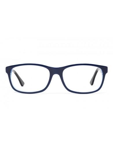 Gafa graduada Thom - Gafa de pasta azul con varillas negras - Frontal