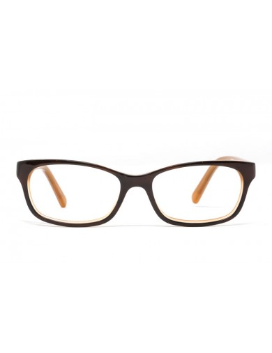Gafa graduada Jeglo - Gafa de pasta marrón e interior naranja - Frontal