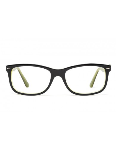 Gafa graduada Marpal - Gafa de pasta negra con interior verde - Frontal