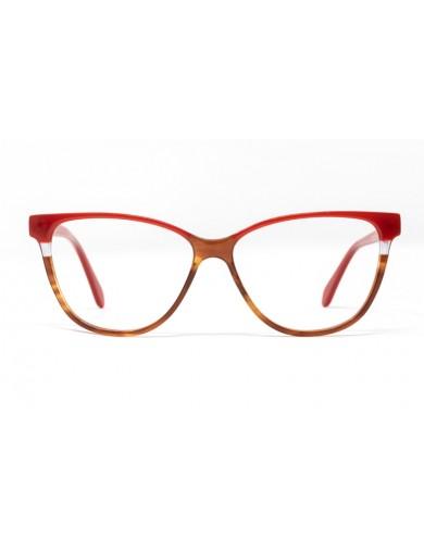 Gafa graduada Helena - Gafa de pasta con ceja y varillas rojas y parte inferior marrón - Frontal
