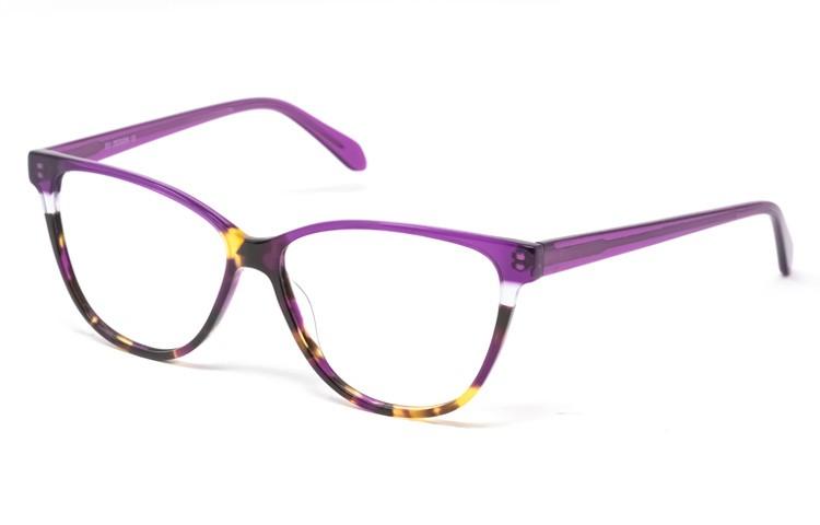 Gafa graduada Helena - Gafa de pasta con ceja y varillas violeta y parte inferior havana