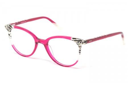 Gafa graduada Clara - Gafa de pasta rosa y detalles en cebra
