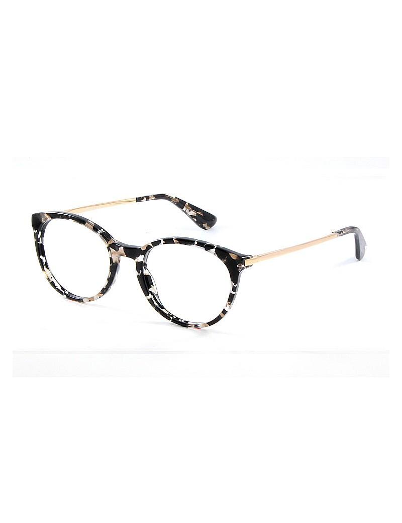 Gafa graduada Optimoda Elina; gafa de pasta con el frontal jaspeado negro y varillas metálicas doradas