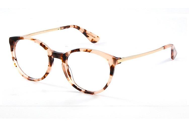 Gafa graduada Optimoda Elina; gafa de pasta con el frontal jaspeado marrón y varillas metálicas doradas