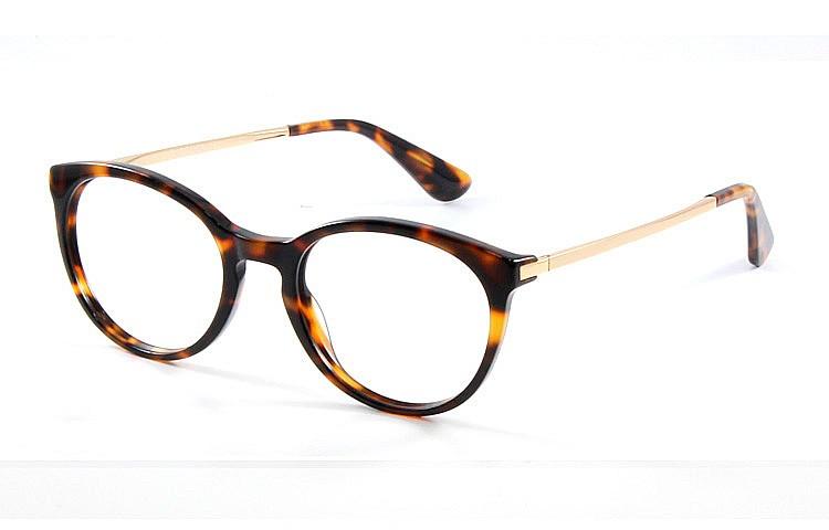 Gafa graduada Optimoda Elina; gafa de pasta con el frontal jaspeado Havana y varillas metálicas doradas