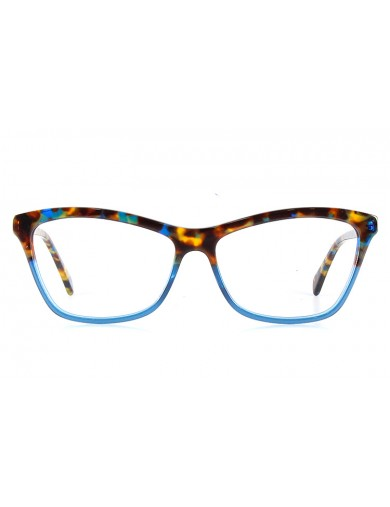 Gafa graduada Optimoda Kary; gafa de pasta con el frontal jaspeado en dos tonos havana y azul