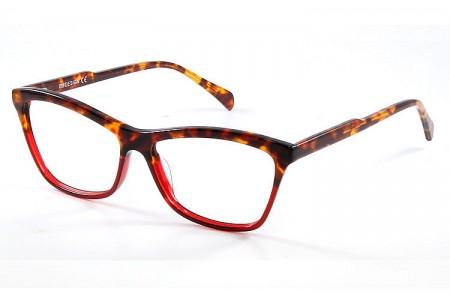 Gafa graduada Optimoda Kary; gafa de pasta con el frontal jaspeado en dos tonos havana y rojo