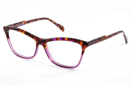 Gafa graduada Optimoda Kary; gafa de pasta con el frontal jaspeado en dos tonos havana y lila