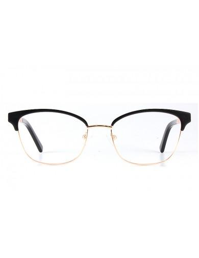 Gafa graduada Optimoda Jolie; gafa metálica con ceja y varillas en negro y aro dorado.