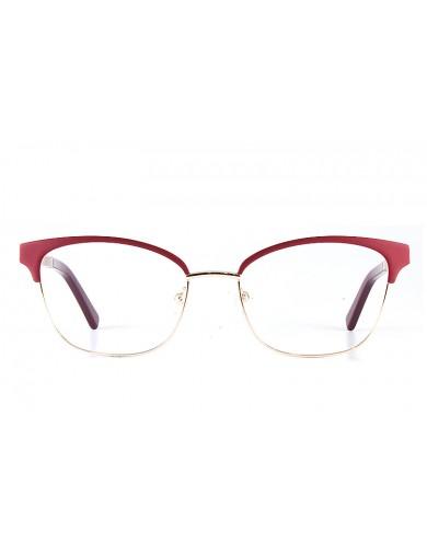 Gafa graduada Optimoda Jolie; gafa metálica con ceja y varillas en rojo y aro dorado.