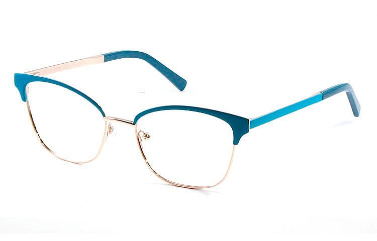 Gafa graduada Optimoda Jolie; gafa metálica con ceja y varillas en azul y aro dorado.