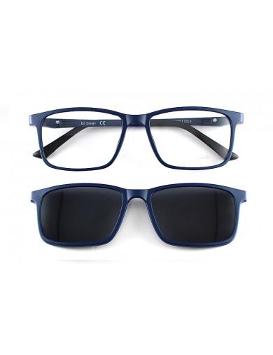 Gafa graduada Optimoda Finch; gafa de pasta con suplemento de sol polarizado imantado en color azul