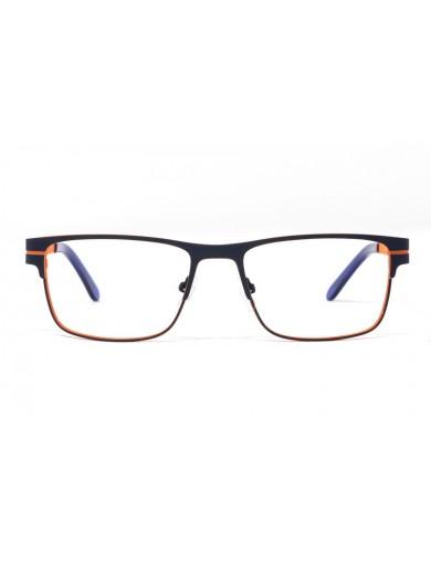 Gafa graduada Bensen - Gafa metálica azul con interior naranja - Frontal
