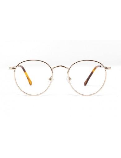 Gafa de graduado Oliver - Gafa metálica redonda dorada - Frontal