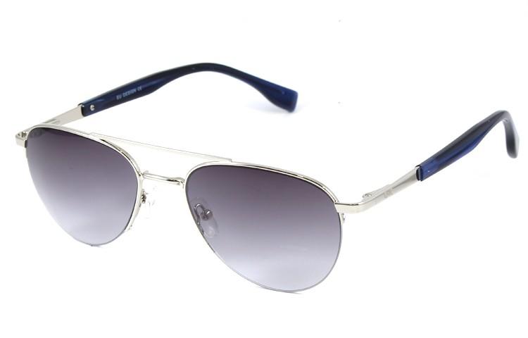 Gafa de sol 0025 - Gafa de sol metálica de color plata con lentes degradadas