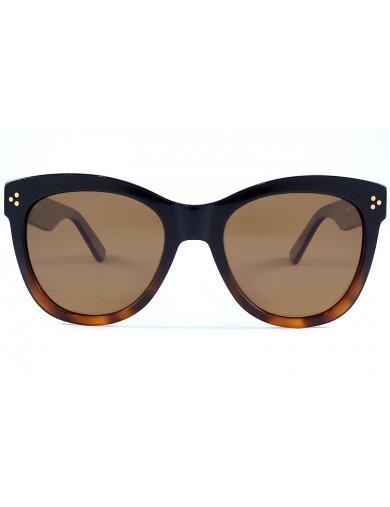 Gafa de sol 1072 - Gafa de sol de pasta de color habana marrón y negro con lentes marrones