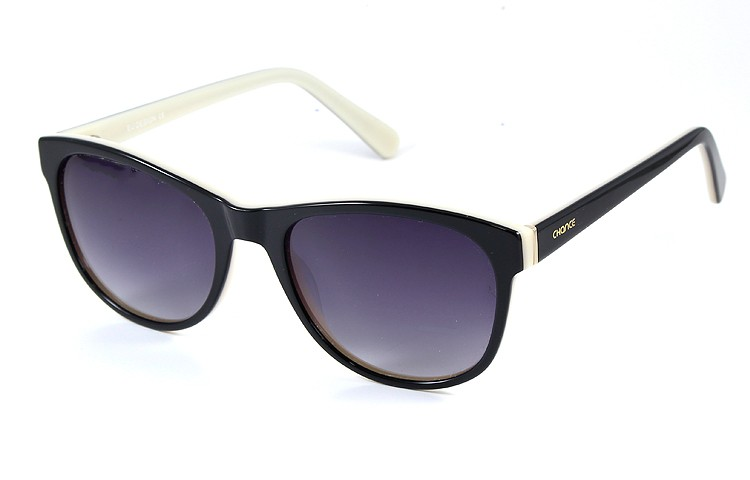 Gafa de sol 1073 - Gafa de sol de pasta de color negro con lentes grises