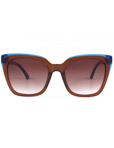 Gafa de sol 1077 - Gafa de sol de pasta de color marron con lentes marrones degradadas