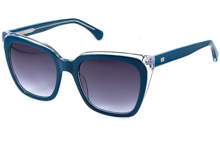 Gafa de sol 1077 - Gafa de sol de pasta de color azul con lentes grises degradadas