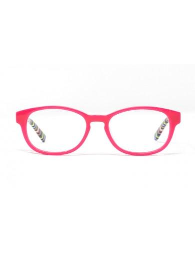 Gafa  graduada de niño Tate - Gafa de pasta con frontal rosa y varillas multicolor - Frontal