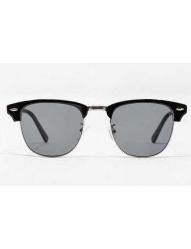 Gafa de sol Tess - Clubmaster - Montura de pasta negra con cristales grises - Frontal