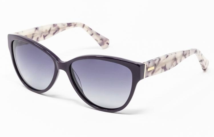 Gafa de Sol Ames - Gafa de pasta con frontal violeta, varillas jaspeadas y lentes grises degradadas