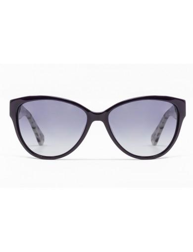 Gafa de Sol Ames - Gafa de pasta con frontal violeta, varillas jaspeadas y lentes grises degradadas - Frontal