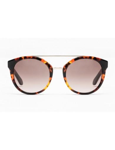 Gafa de sol Mercer - Gafa de sol de pasta de color havana y lentes marrones degradadas - Frontal
