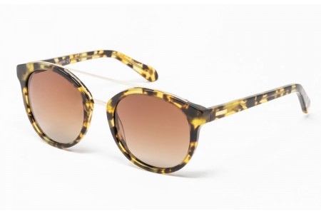 Gafa de sol Mercer - Gafa de sol de pasta de color havana claro y lentes marrones degradadas
