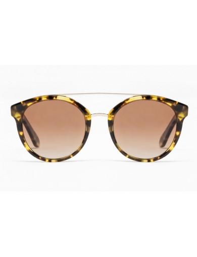 Gafa de sol Mercer - Gafa de sol de pasta de color havana claro y lentes marrones - Frontal