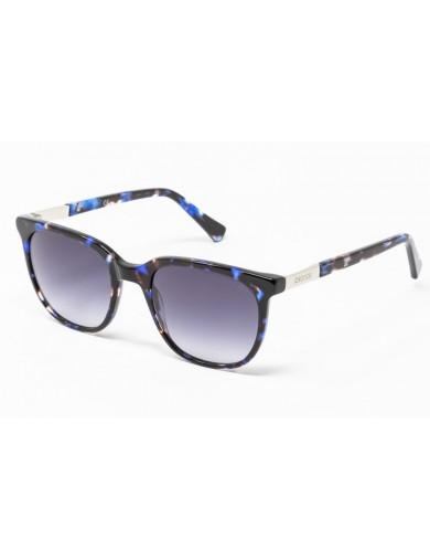 Gafa de sol Percy - Gafa de pasta azul jaspeado y lentes grises degradadas