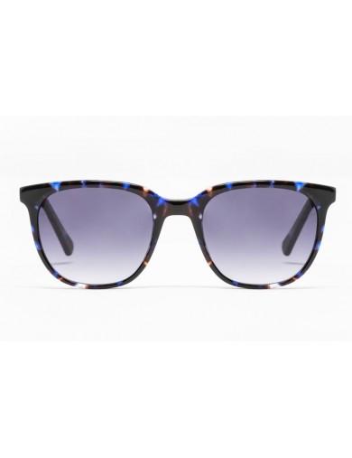 Gafa de sol Percy - Gafa de pasta azul jaspeado y lentes grises degradadas - Frontal