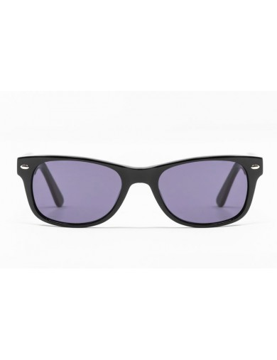 Gafa de sol Flynn - New Wayfarer - Gafa de pasta negra con lentes grises - Frontal