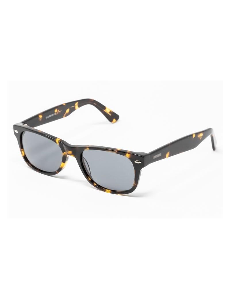 Gafa de sol Flynn - New Wayfarer - Gafa de pasta negro jaspeada con lentes verdes