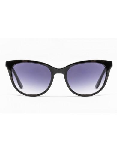 Gafa de sol Spiga - Gafa de pasta en color negro jaspeado con lentes grises degradadas - Frontal