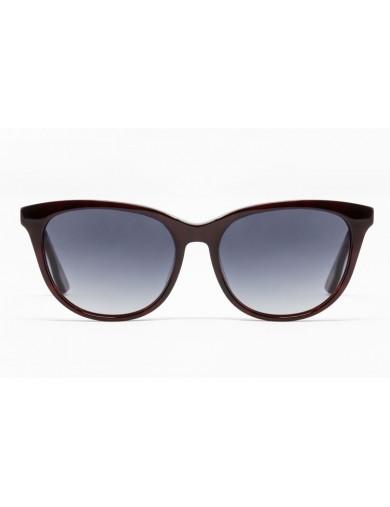 Gafa de sol Spiga - Gafa de pasta en color granate oscura jaspeada con lentes grises degradadas - Frontal