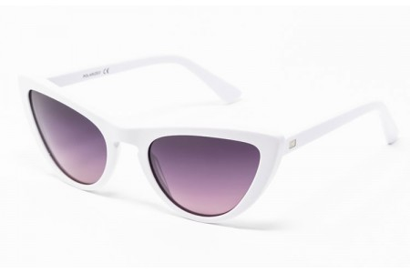 Gafa de sol Tansley - Gafa de pasta blanca con lentes grises degradadas