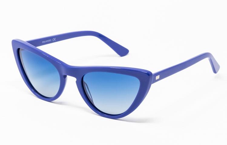 Gafa de sol Tansley - Gafa de pasta azul con lentes azules degradadas