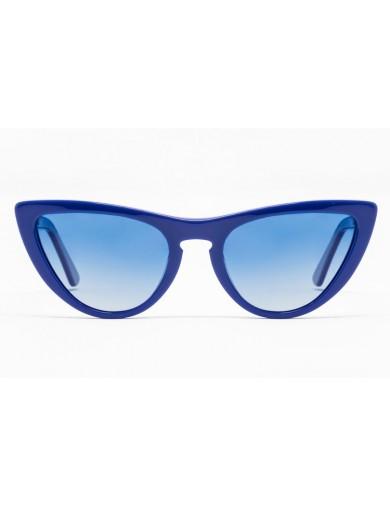 Gafa de sol Tansley - Gafa de pasta azul con lentes azules degradadas - Frontal