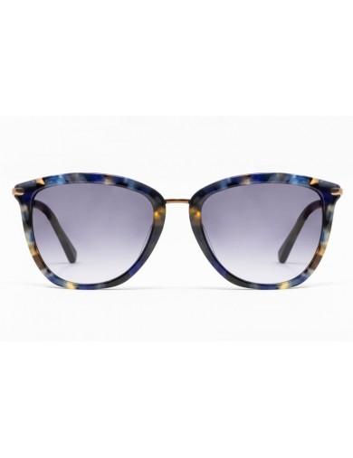 Gafa de sol Avery - Gafa de pasta con frontal azul jaspeado, varillas metálicas y lentes azules degradadas - Frontal