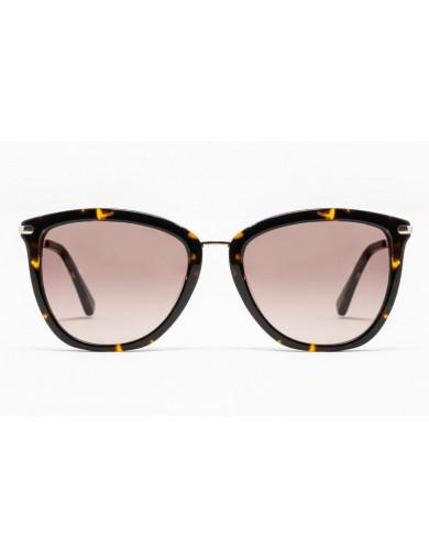 Gafa de sol Avery - Gafa de pasta con frontal marrón jaspeado, varillas metálicas y lentes marrones degradadas- Frontal