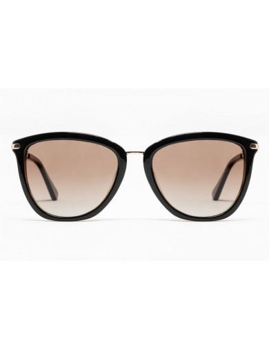Gafa de sol Avery - Gafa de pasta con frontal marrón , varillas metálicas y lentes marrones degradadas - Frontal