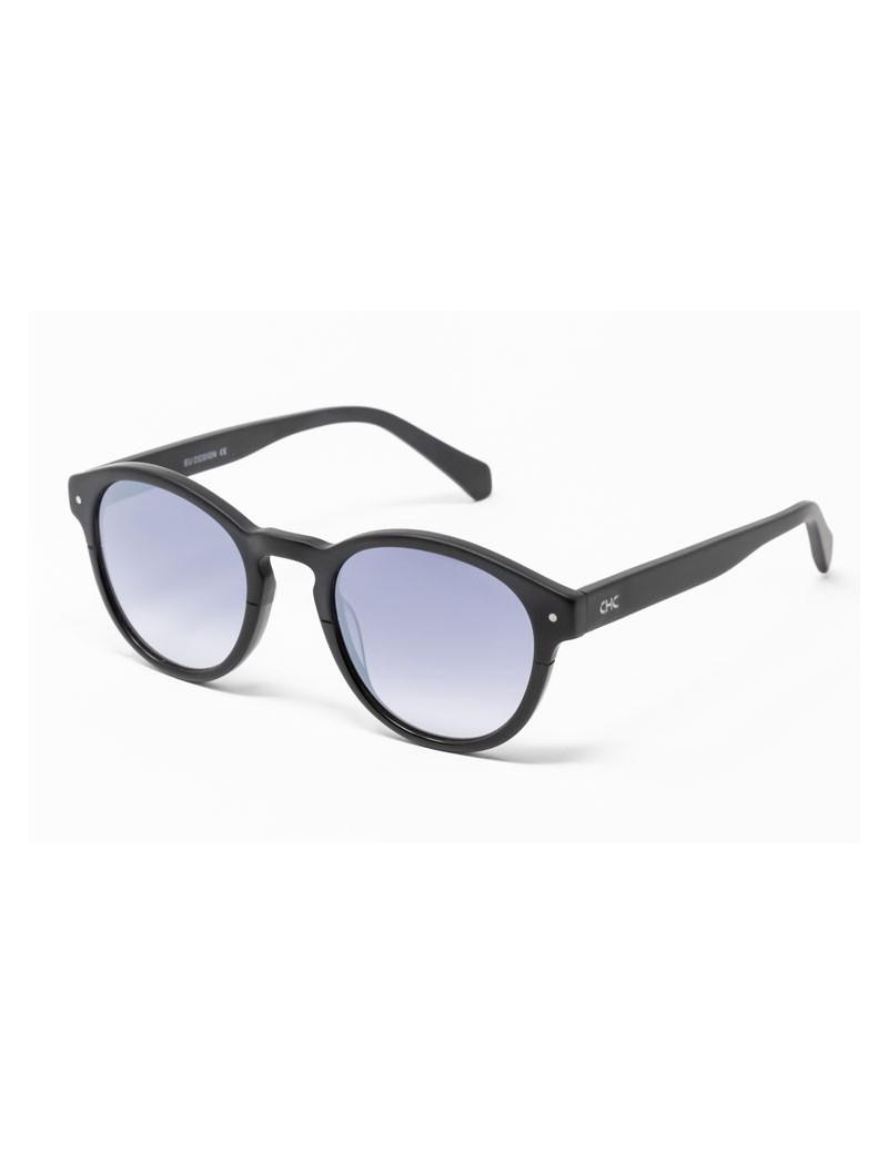Gafa de sol Piper - Gafa de sol de pasta de color negro con lentes espejadas grises