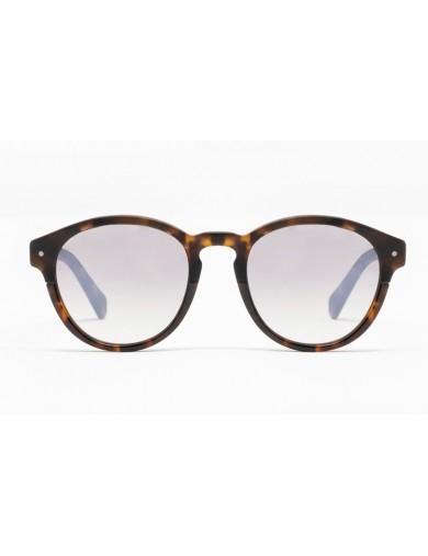 Gafa de sol Piper - Gafa de sol de pasta de color negro con lentes espejadas grises - Frontal