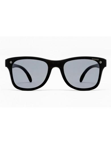 Gafa de sol Logan - Gafa de pasta negra con pantalla negra - Frontal