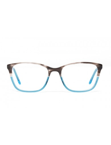 Gafa graduada Jule - Gafa de pasta con ceja marrón y resto azul - Frontal