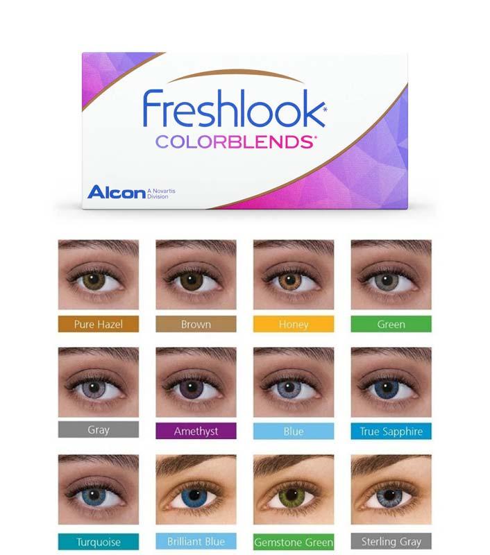 Gamma de colors de la lents de contacte cosmètica Freshlook Colorblends d'A